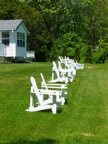 white lawn chairs sitting in the lawn